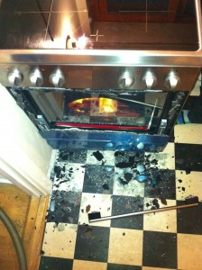 "My poor oven after the little ""mishap"" where the door came of..."